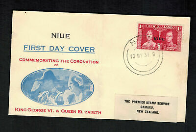 1937 Niue New Zealand first day cover to Oamaru KGVI Coronation King George 6