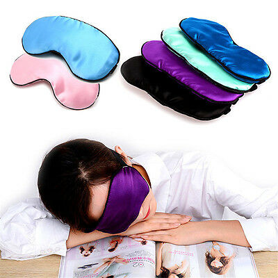 1X New Pure Silk Sleep Eye Mask Padded Shade Cover Travel Relax Aid Blindfolds