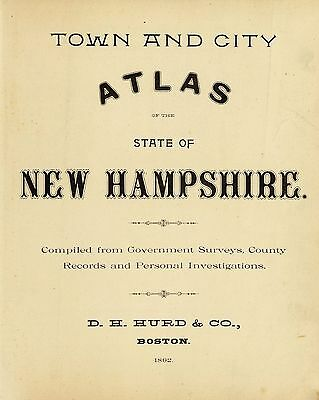 NEW HAMPSHIRE STATE ATLAS map 1892 old GENEALOGY GHOST TOWN TREASURE DVD S14