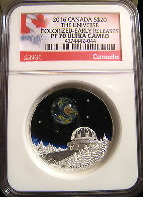 2016 Canada $20 THE UNIVERSE NGC PF70 UC ER Early Releases Glass Galaxy ~~