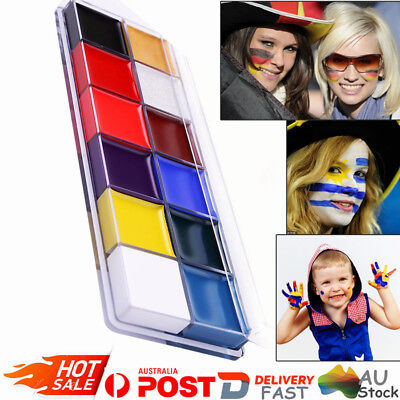 12 Colors Face Body Paint Oil Painting Art Halloween Party Flash Make Up Set OZ