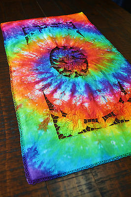 Tie Dye Rainbow Vintage Madeira Cutwork Embroidery Doily Lace Table Runner  R583