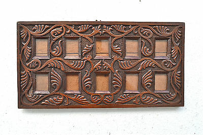 Original Arts and Crafts carved solid oak multiple picture frame cigarette cards