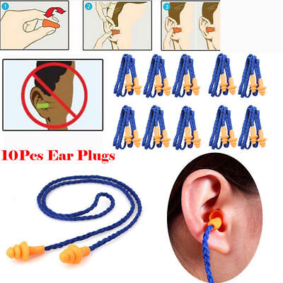 2017New 10x Reusable Soft Silicone Corded Ear Plugs Hearing Protection Earplugs