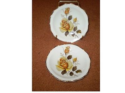 2 Gorgeous Regency Bone China Pin Or Trinket Dishes With Yellow Roses@@@@@