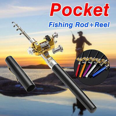 Aluminum Portable Telescopi Combo Mini Pocket Pen Lure Fishing Rod Pole W/ Reel