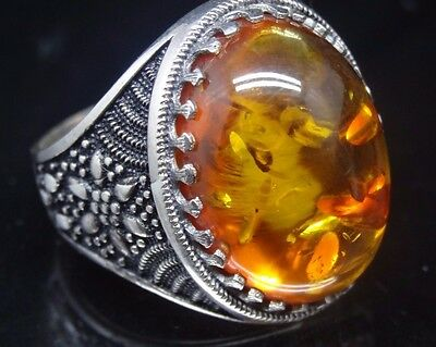 Turkish Handmade 925 Sterling Silver SPECIAL Amber Mens Ring Sz 10 us Fr. Resize
