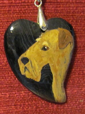 Lakeland Terrier hand painted on a heart-shaped black Agate pendant/bead/necklac