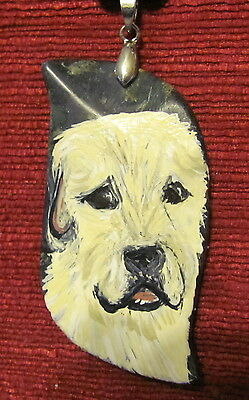 Irish Wolfhound hand painted on Serpentine pendant/bead/necklace