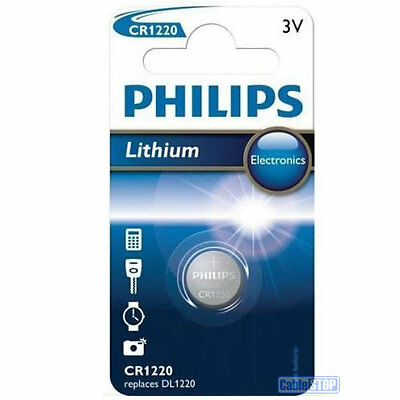 1x Philips CR1220 3V Lithium Battery Button Coin Cell DL1220 Car Key Fobs Watch