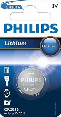 1x Philips CR2016 3V Lithium Battery Button Coin Cell DL2016 Car Key Fobs Watch