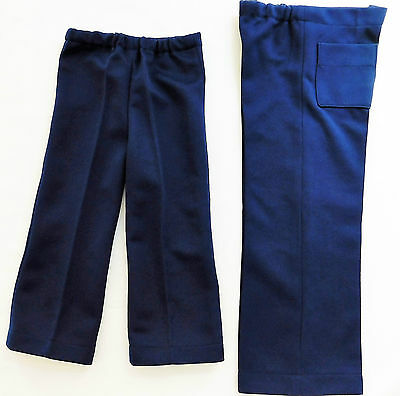 Childrens vintage trousers 1960s Unisex Navy blue Elastic waist boy girl UNUSED