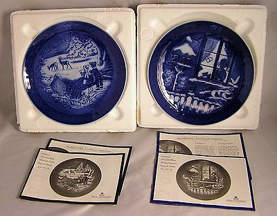 2001-2002 Royal Copenhagen Christmas Plates Watching Birds/Winter In The Forest