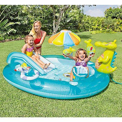 Intex Gator Play Center Inflatable Kids Swimming Pool with Sprayer n Water Slide