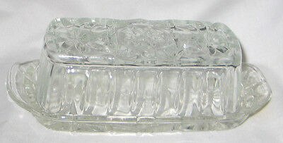 "7 3/8"" Clear Pressed Glass Butter Dish #1"