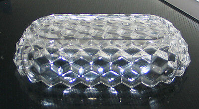 """6"""" x 3 1/4"""" x 1 1/2"""" Clear Pressed Glass Butter Dish TOP ONLY!"""