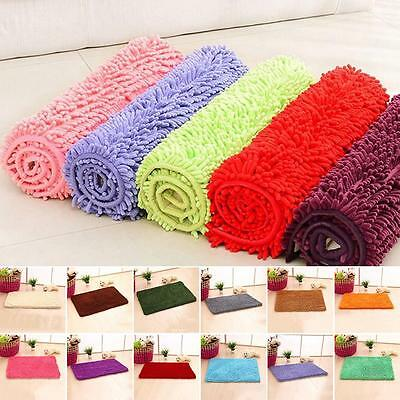 Absorbent Soft Shaggy Non Slip Bath Mat Bathroom Shower  Floor Rugs Carpet TSUS