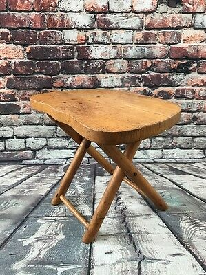 Vintage Nevco Fold'N Carry Stool Wooden Camping Hunting Decor Yugoslavia 9.5""
