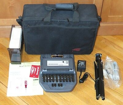 Stentura 200 SRT Stenograph Electric Steno Machine, Tripod, Power Supply & Case