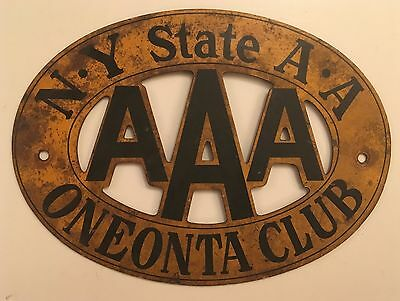 1920s-1930s Oneonta New York AAA License Plate Grill Badge Topper Otsego County