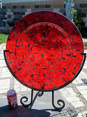 "HUGE 25+""D Flashed APPLIED Ruby Glass Platter on Black Iron Stand Stained Glass!"