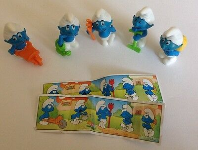 1997 Kinder Surprise Toy MINIATURE GARDENER SMURFS SET  FERRERO