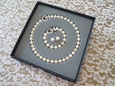 Estate Bridal Wedding Jewelry Set-FAUX PEARL Choker Bracelet & Pierced Earrings