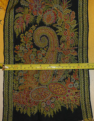 Antique Paisley Wool Scarf Group plus an Antique Printed Shawl