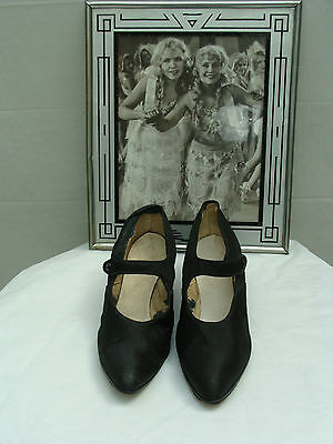 1920s Flapper Womens Vintage Satin Mary Janes Shoes Size 8  *AUTHENTIC ANTIQUE*