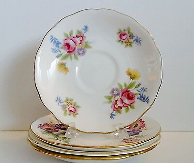 Orphan Saucers Only Lot of 4 English Bone China Roses Flowers Pink Blue VTG EUC
