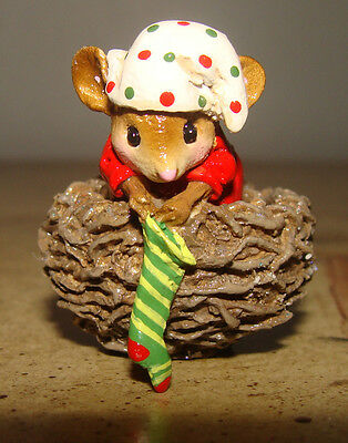 Wee Forest Folk COZY NEST - CHRISTMAS ORNAMENT - Mouse in Nest w/ Stocking