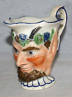 Antique English Staffordshire Pearlware Portrait Cream Pitcher Bacchus Face