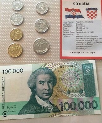 Croatia Coins & Note Set Unc..
