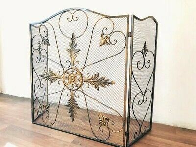 QUALITY Hand Iron French Style Fireplace Screen Fire Guard Shield 3 Panel BRS002