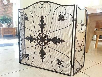 QUALITY Hand Iron French Style Fire Screen Fireplace Guard Shield 3 Panel CPR001