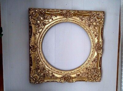 """Antique Victorian Gold Gilded Deep Well Picture Frame Ornate Large Wood 26"""" Rare"""