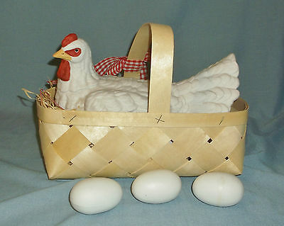 Porcelain Hen Chicken in a Basket w/ Eggs Figurine Country Farm Decor In Box