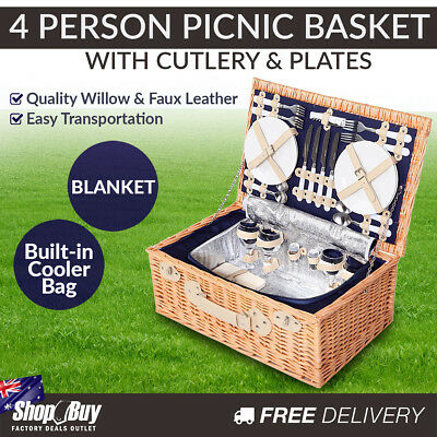 4 Person Willow Picnic Basket Hamper Gift Set Blanket Wine Glasses Insulated Bag