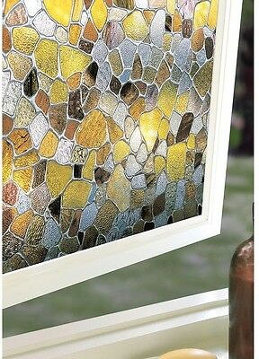 Large 24 in. x 36 in. Stained Glass Decorative Window Film Faux Textured Glass