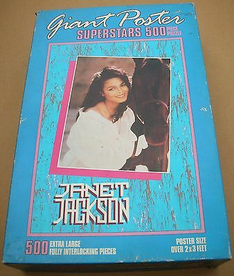 JANET JACKSON Giant Poster Superstars 500 Piece Puzzle 2' x 3' Used Complete 91'