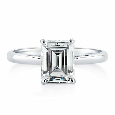 Emerald Cut Cubic Zirconia Solitaire Engagement Ring Sterling Silver 925 UK
