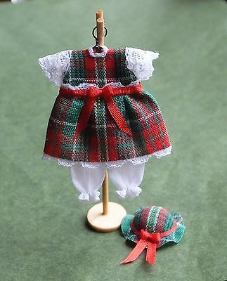 Dolls house miniatures: tartan dress and hat for toddler by Cheryl Warder