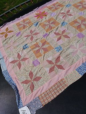 "Antique/Vintage 8 Point Star Quilt ""TOP"" Hand/Machine Pieced 71"" x 83"""
