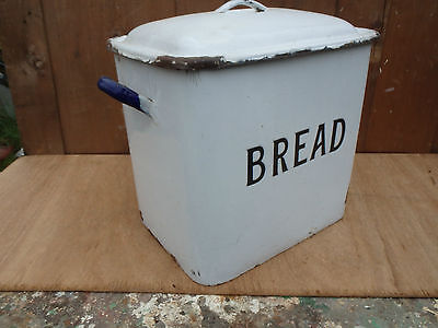 Vintage Classic English Enamel Bread Bin. Blue & White with Black Lettering
