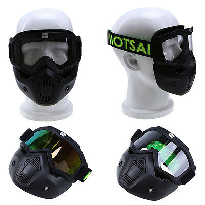 Motorcycle Bike Skiing Goggles Detachable Modular Mask Open Face Helmet Shield