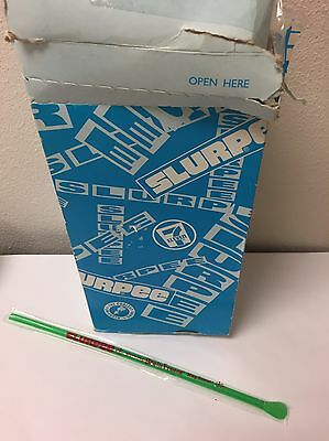 Vintage 7-11 Colored Slurpee Wrapped Spoon Straws - Warning Brain Freeze!