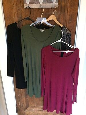 Lot Of 4 Juniors Large Comfortable Dresses Long Sleeve Charming Charlie Etc.