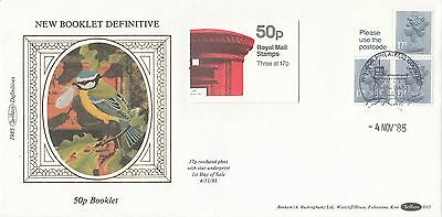 (99514) CLEARANCE GB Benham FDC D33 50p  Booklet Pane Windsor 4 November 1985
