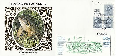 (99517) CLEARANCE GB Benham FDC D44 50p Pond Life Booklet Pane Windsor Aug 1986