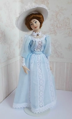 Dolls house miniatures: lady doll in hat by Debra Hammond